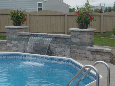Pool Maonry Waterfall Oswego, IL