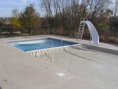 Pool cover partially closed