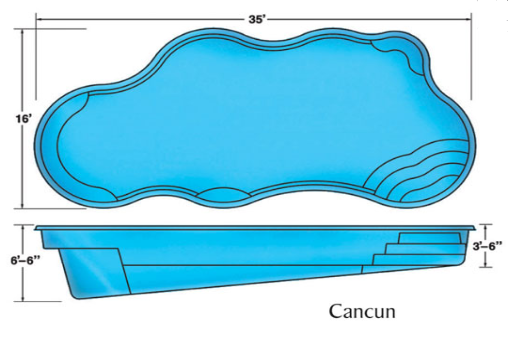 Cancun Free Form large fiberglass pool designs