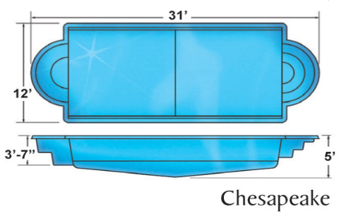 Chesapeake Clasic fiberglass pool designs