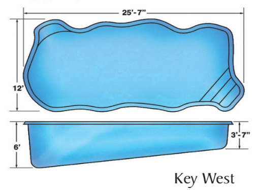 Key West Free Form small fiberglass pool designs