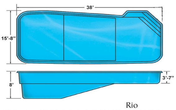 Rio large custom fiberglass pool designs