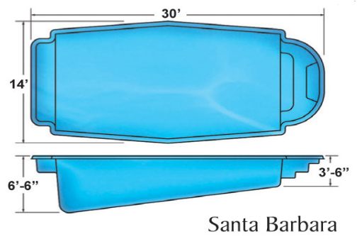 Santa Barbara Classic medium fiberglass pool designs