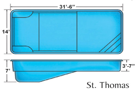 St. Thomas medium rectangular fiberglass pool designs