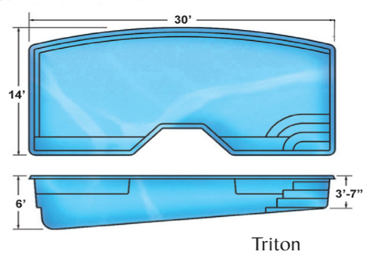 Triton medium custom fiberglass pool designs