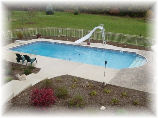 finished pool with fence