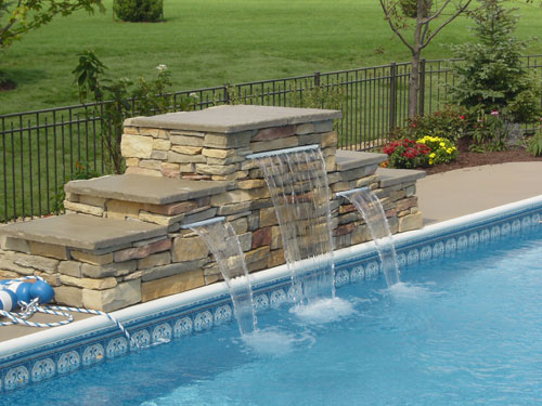 pool stone waterfall st charles il by swim shack - Rectangle Pool With Water Feature