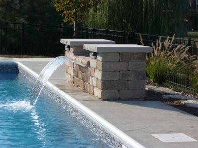 swimming pool with waterfall feature