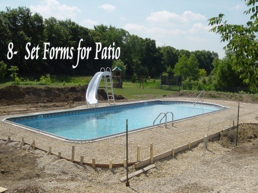 setting form for pool deck