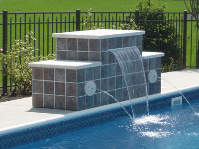 pool tile waterfall and spouts st charles - Rectangle Pool With Water Feature