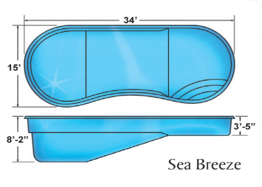 Sea Breeze Kidney Large Fibergl Pool Designs