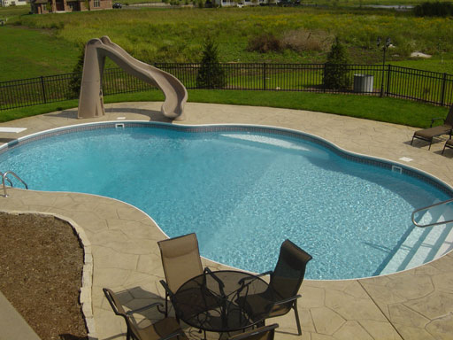 photo of modified kidney pool with end stair entry Lilly Lake, IL