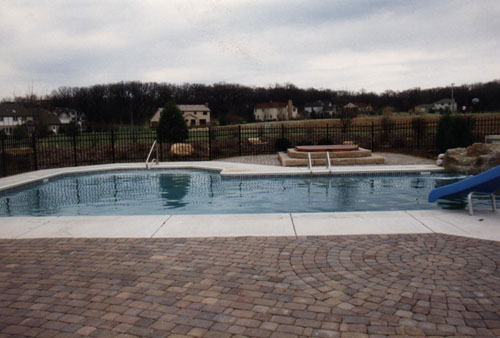 photo of modified L shaped pool with waterfall Elburn, IL