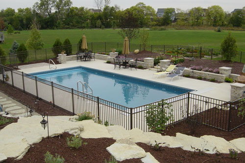 photo of pool with full width stair entry Yorkville, IL