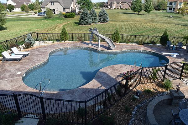 photo of modified kidney shaped pool IL